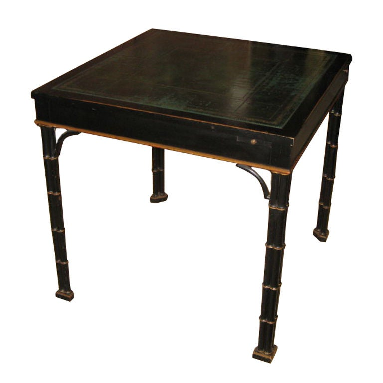 chinese chippendale style green leather top game table at
