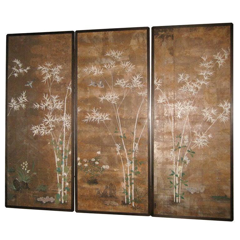 Stunning Set Of Three Asian Wall Paper Panels At 1stdibs