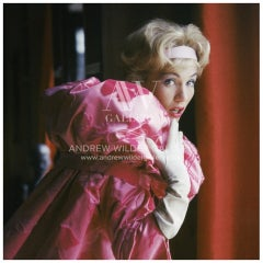 Model in Pink Couture-Mark Shaw Editioned Photo-Paris, 1960