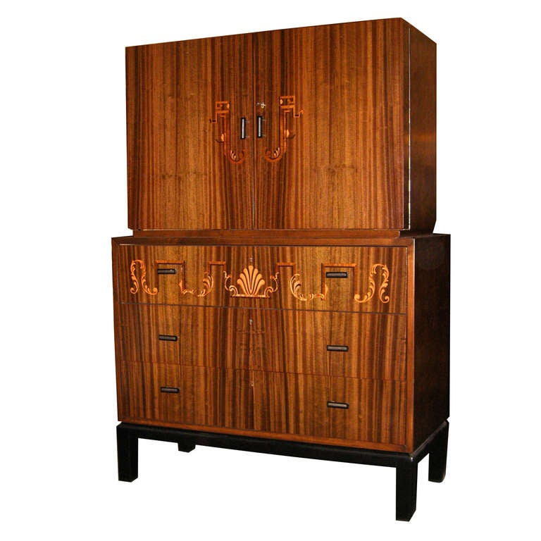 swedish art deco inlaid secretaire or chest of drawers by smf at 1stdibs. Black Bedroom Furniture Sets. Home Design Ideas