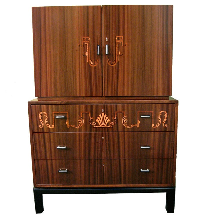 swedish art deco inlaid secretaire chest of drawers by smf at 1stdibs. Black Bedroom Furniture Sets. Home Design Ideas