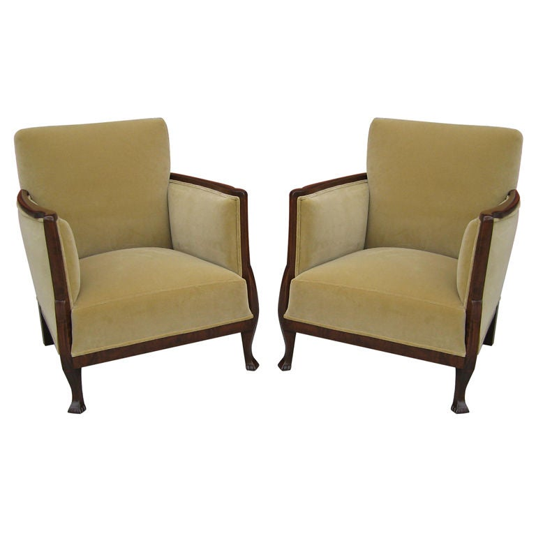Pair of Swedish Art Deco/Moderne Armchairs at 1stdibs