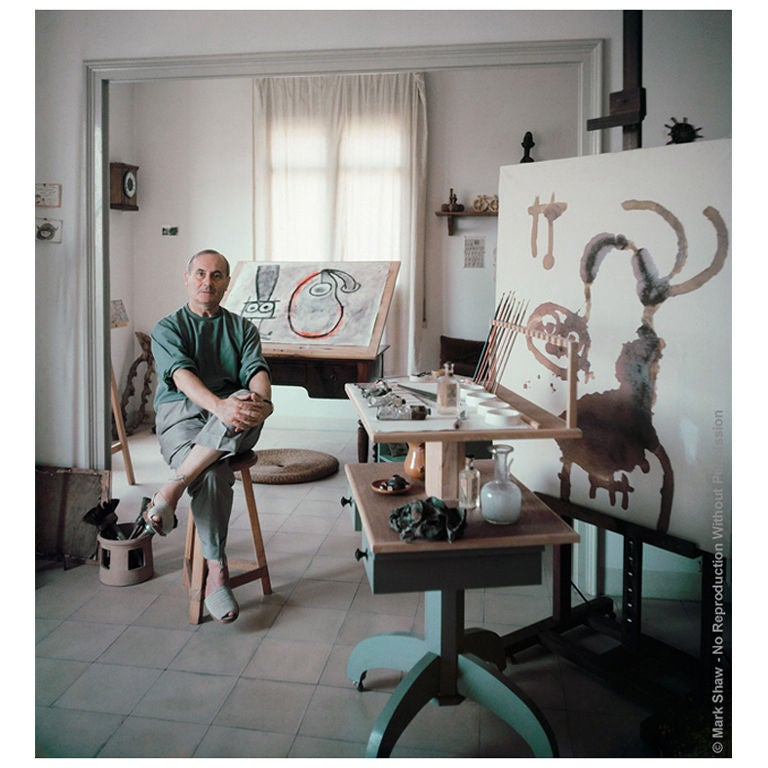 Portrait of Joan Miro in Studio #3-Editioned Photo by Mark Shaw For Sale