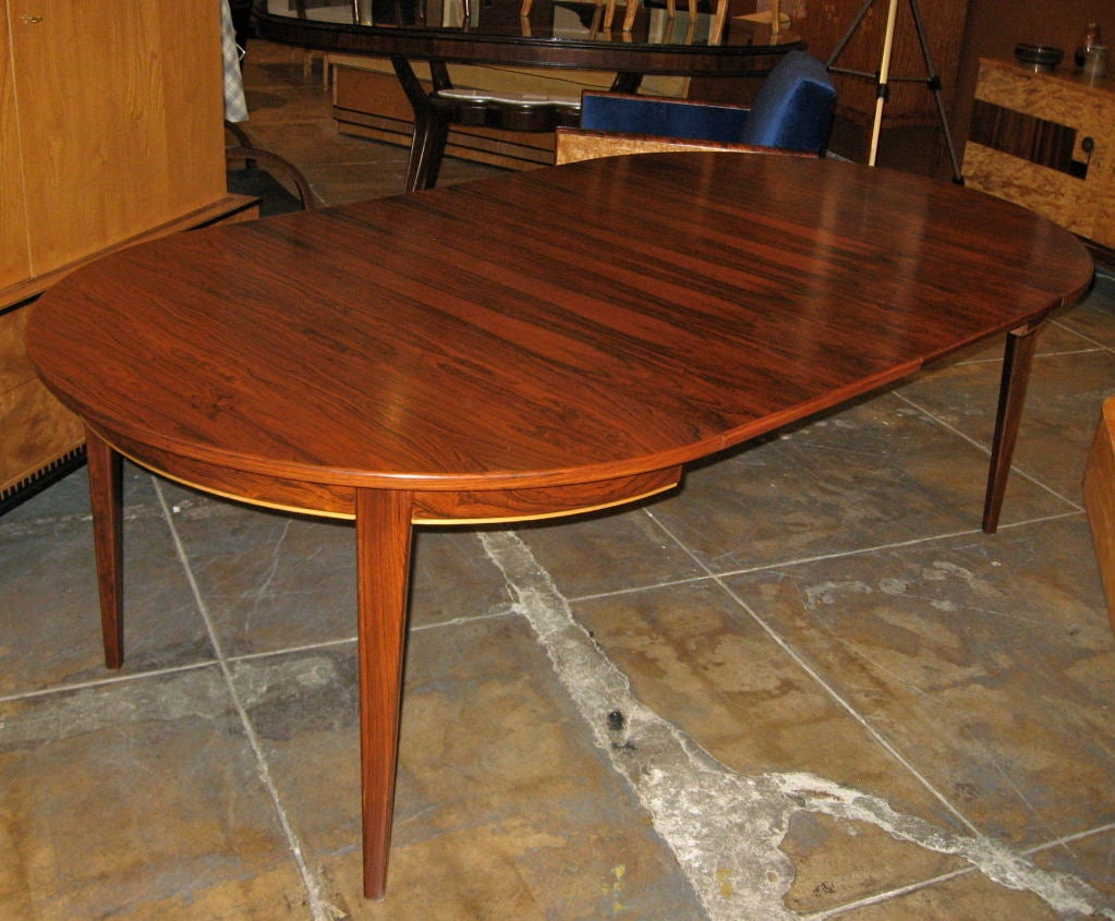 Danish mid century modern extendable rosewood game dining for Dining room game table