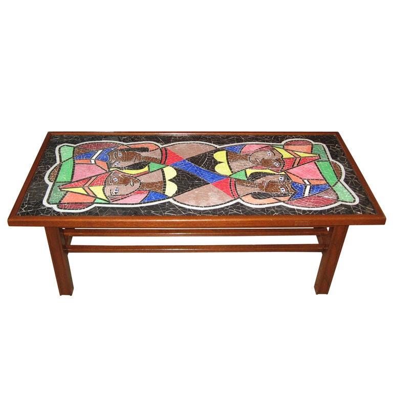Danish Mid-Century Mosaic Glass Coffee Table At 1stdibs