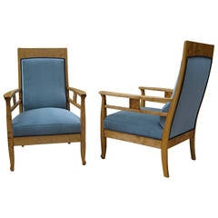 Pair of Swedish Arts & Crafts Armchairs in Golden Birch, circa 1910
