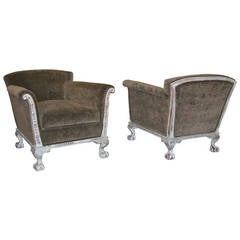 Pair of Swedish Art Deco Era Gray Painted Armchairs, circa 1930