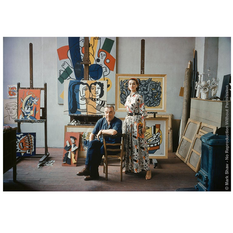 Captured by famed photographer Mark Shaw, are Fernand Leger and his model captured in Leger's Paris atelier. Shot for LIFE in 1955, two weeks before his death, Fernand Leger posed for this final portrait in his Paris Studio where he had worked since