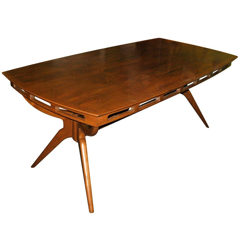 argentine mid century modern dining table in walnut by