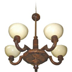 Swedish Art Deco Era Five Arm Hanging Fixture in Walnut/Rosewood