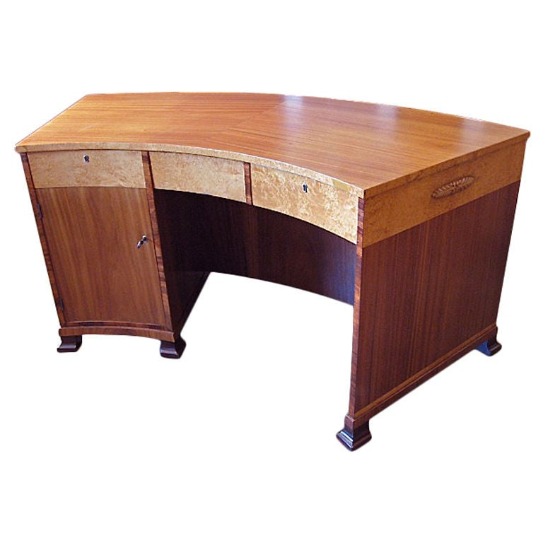 Swedish Art Deco Desk Bookcase In Karelian Birch And