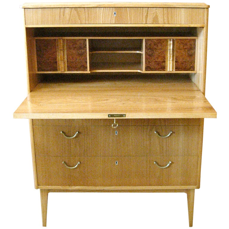 swedish mid century moderne secretaire in elm and. Black Bedroom Furniture Sets. Home Design Ideas
