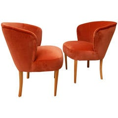Pair of Swedish Upholstered Chairs- Carl Malmsten for O.H. Sjögren ca. 1950