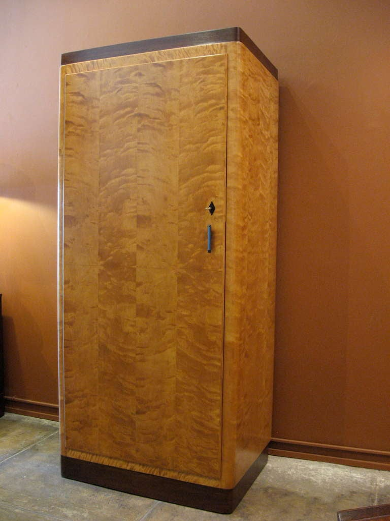 large swedish art deco armoire in flame birch at 1stdibs. Black Bedroom Furniture Sets. Home Design Ideas