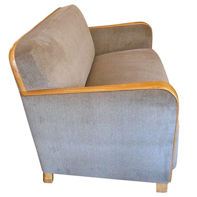 swedish art moderne sofa in golden elm at 1stdibs. Black Bedroom Furniture Sets. Home Design Ideas