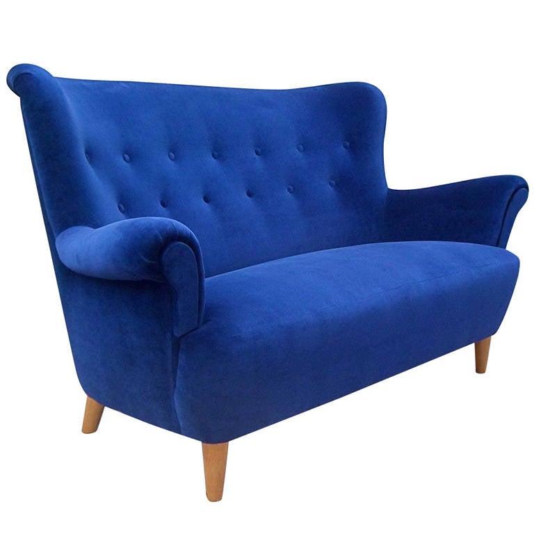 swedish moderne wingback sofa circa 1940 at 1stdibs. Black Bedroom Furniture Sets. Home Design Ideas
