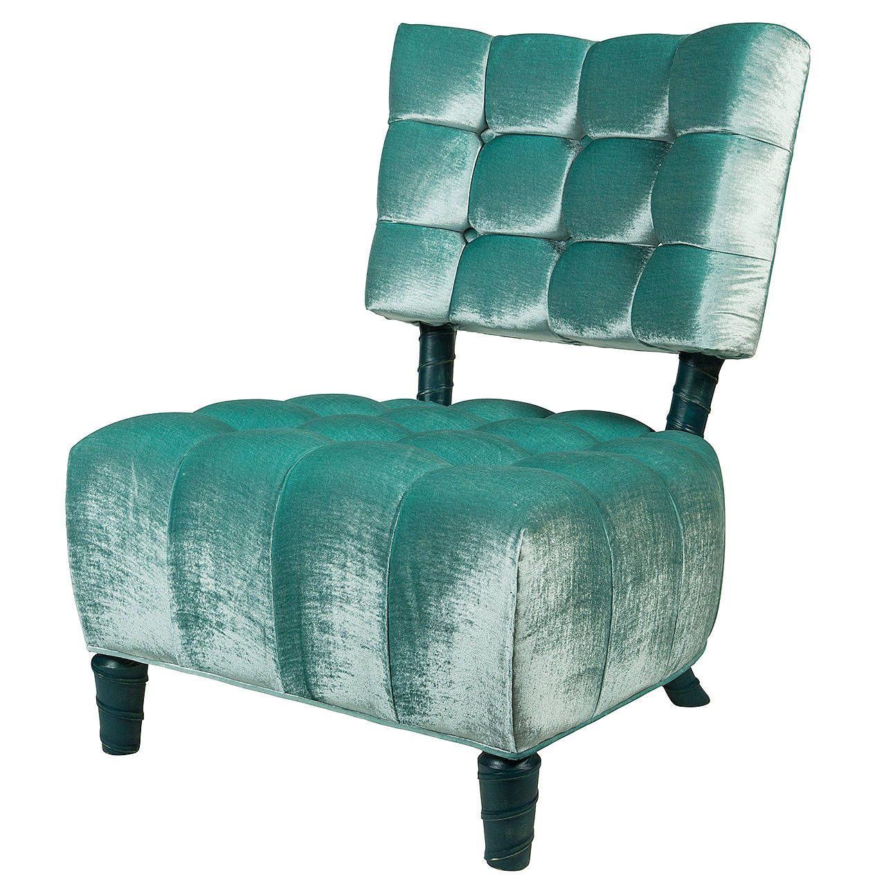 Marvelous Biscuit Tufted Slipper Chair By William Haines For Sale