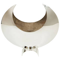 Silver Plate Crescent Moon Vase