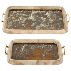 Set of Two Lacquered Parchment Trays by Arturo Pani
