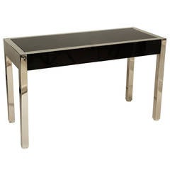 Polished Chrome and Lacquered Desk