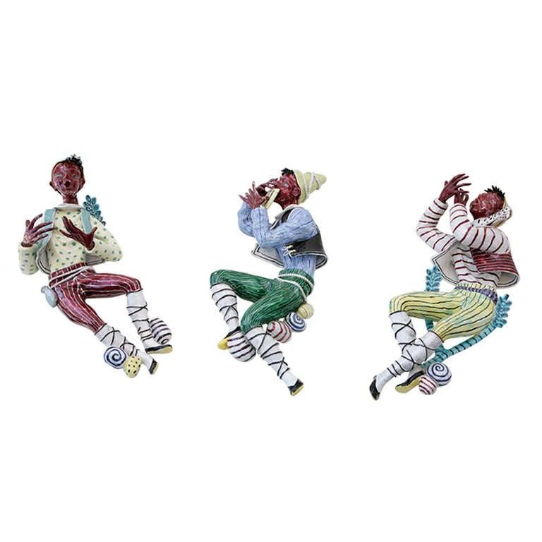 Trio of Ceramic Minstrels by Otello Rosa for San Polo Venezia For Sale