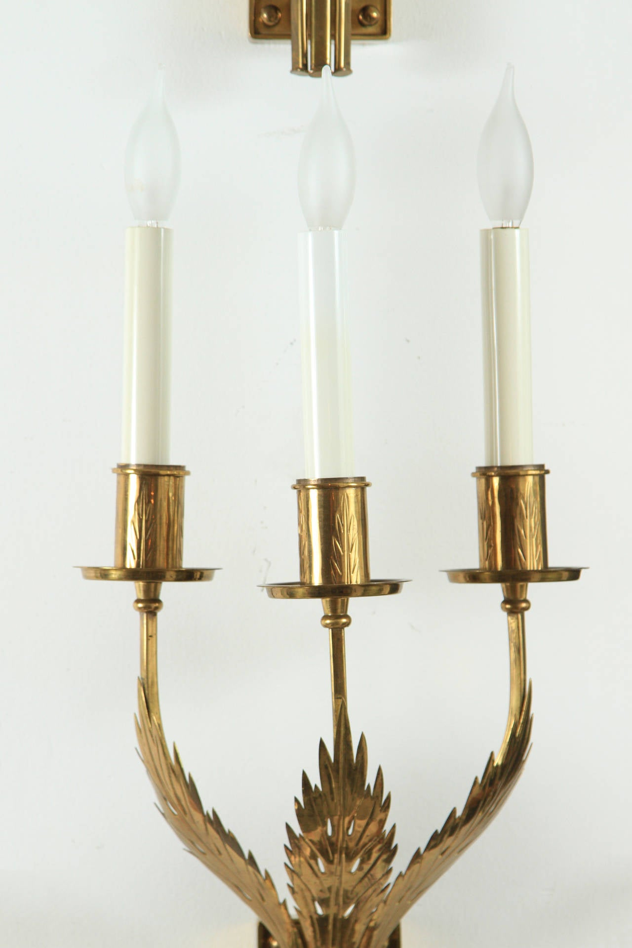 Mid-Century Modern Trio of Custom Acanthus Leaf Sconces by Tommi Parzinger For Sale