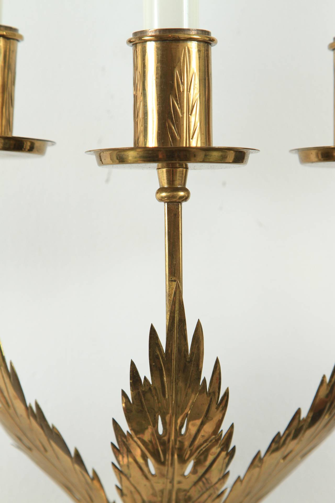 Trio of Custom Acanthus Leaf Sconces by Tommi Parzinger In Excellent Condition For Sale In Palm Desert, CA