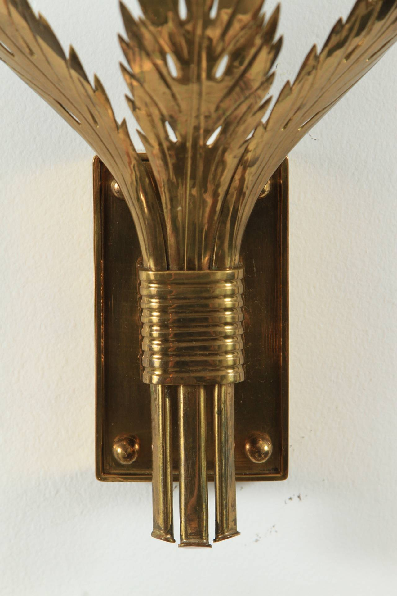 American Trio of Custom Acanthus Leaf Sconces by Tommi Parzinger For Sale