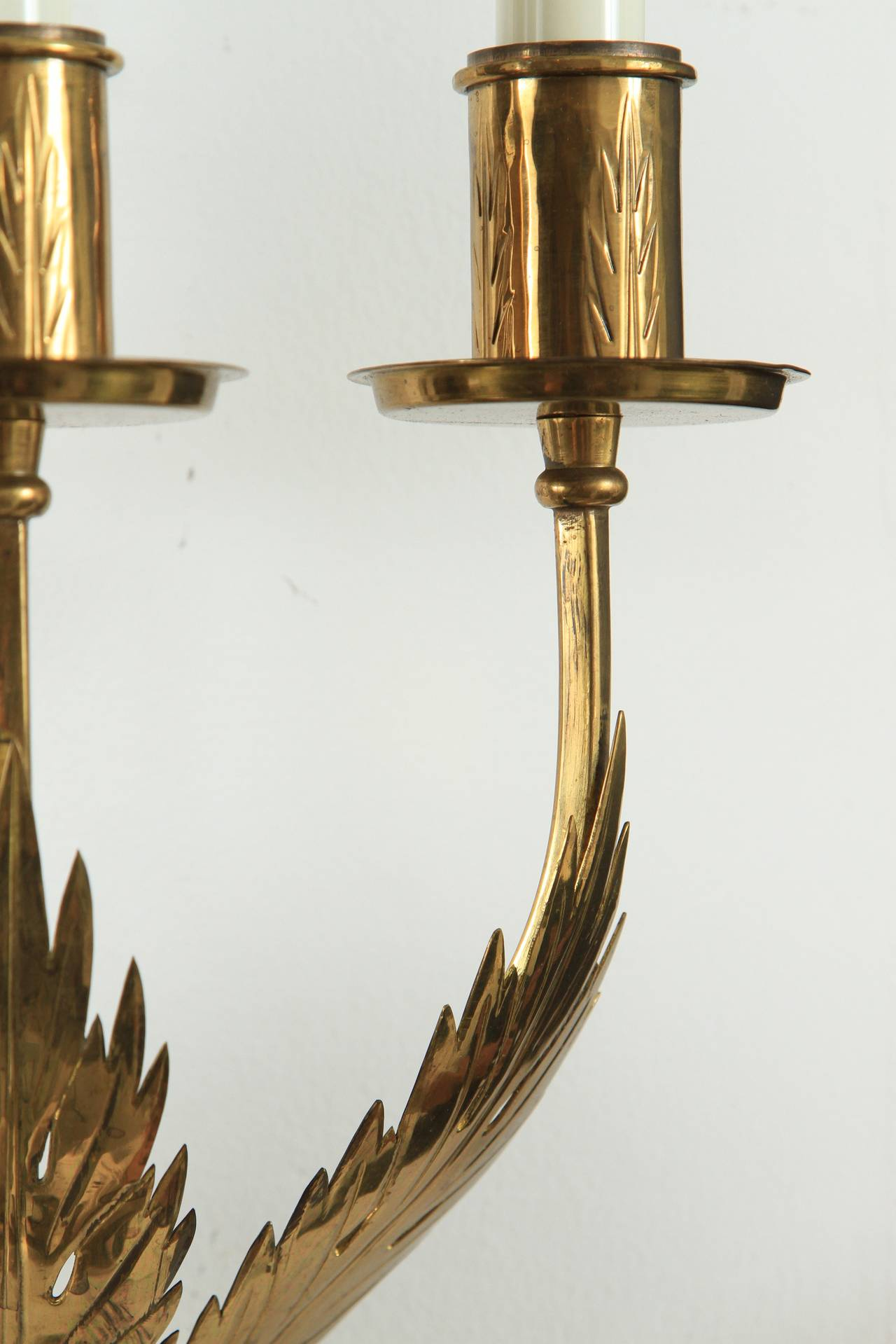 20th Century Trio of Custom Acanthus Leaf Sconces by Tommi Parzinger For Sale