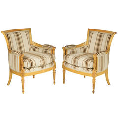 Pair of Bergere Chairs in the Directoire Style