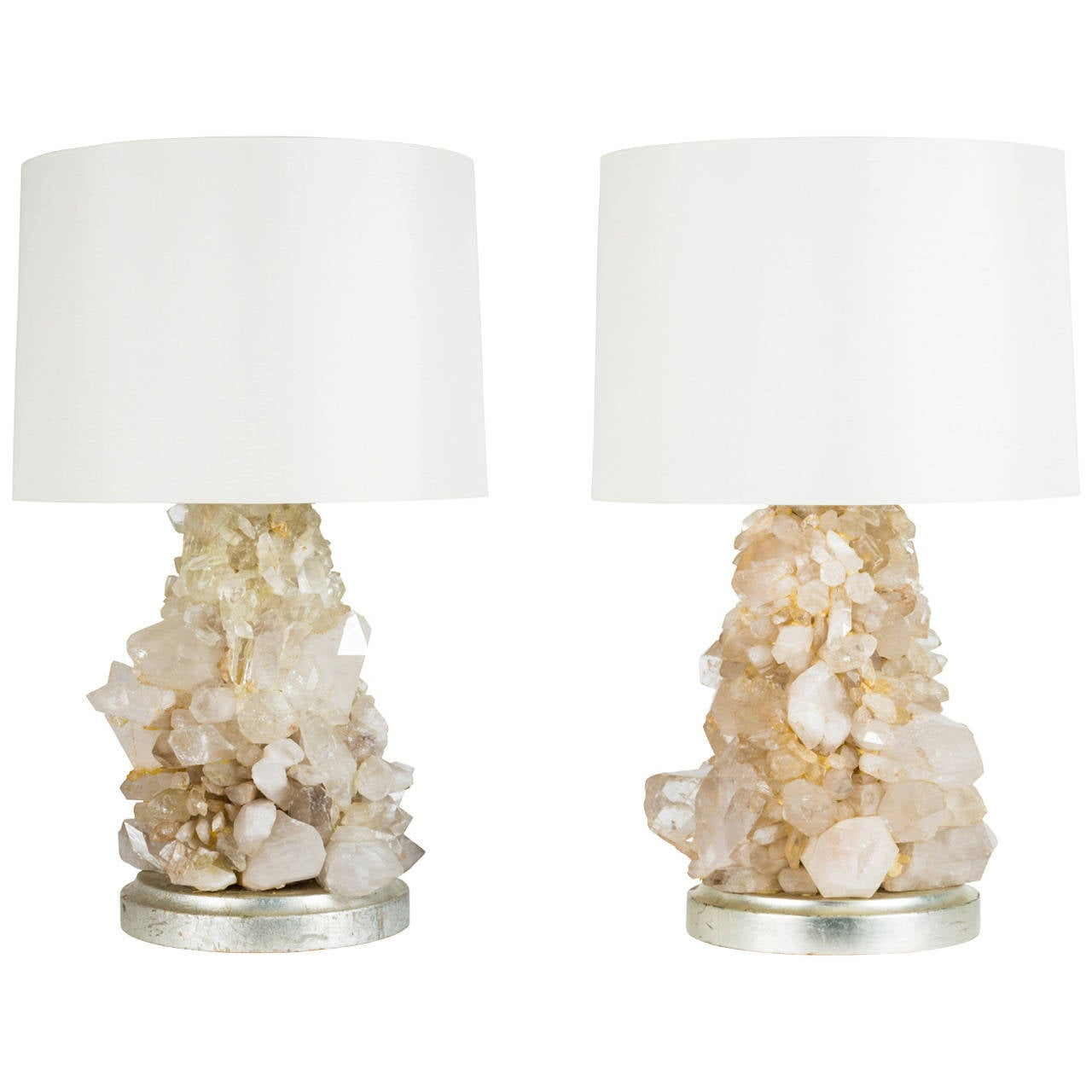 Pair of Unique Rock Crystal Table Lamps 1