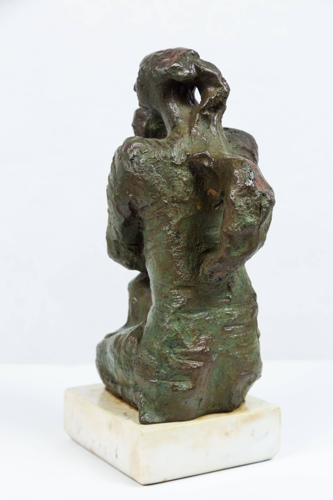 Brutalist Mother and Child Bronze by José Mariano Pagés Sculpture For Sale