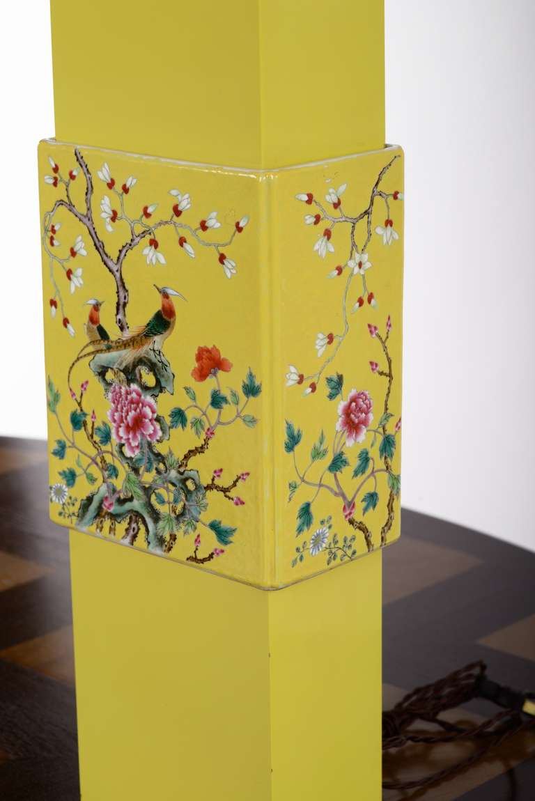 Custom Yellow Porcelain Table Lamp Designed By William