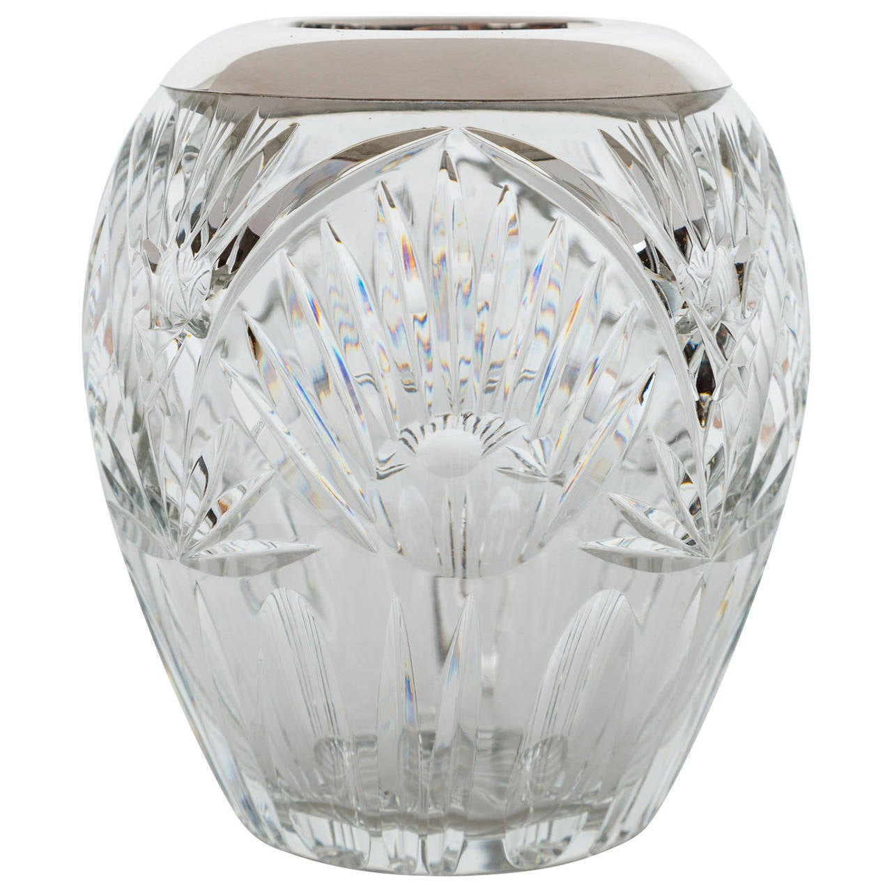 Cut Crystal and Sterling Silver Vase
