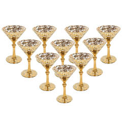 Set of Ten Hand Decorated Martini Glasses
