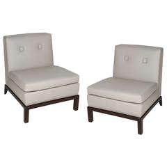 Pair of Custom Leather Upholstered Slipper Chairs by Everett Sebring