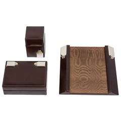 Gucci Leather Box, Lighter and Notepad Holder