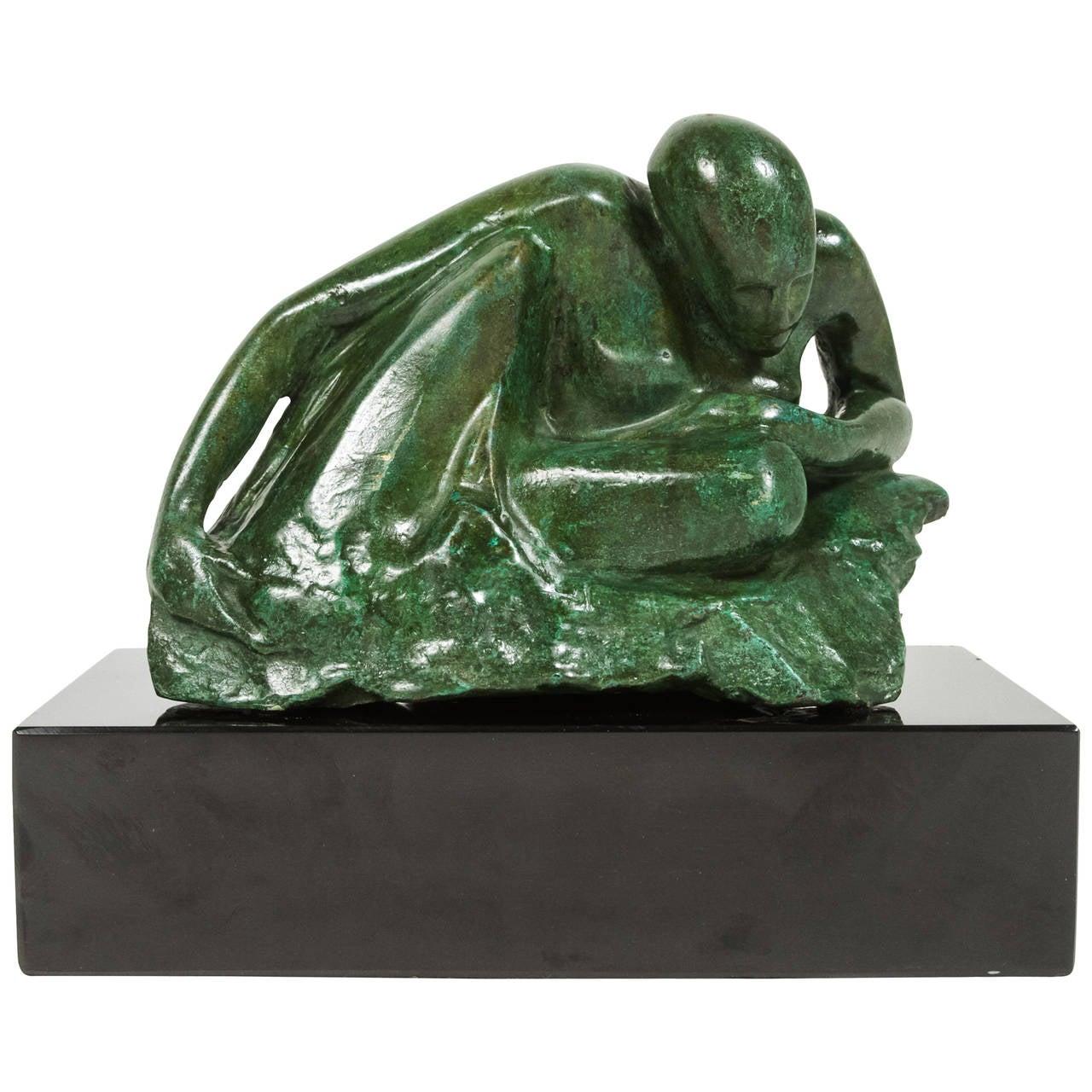 Figural Bronze Sculptural on Onyx Base
