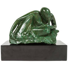 Figural Bronze Sculptural on Onyx Base