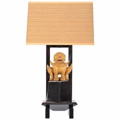 Lacquered Table Lamp Featuring Gilt Temple Dog by William Haines