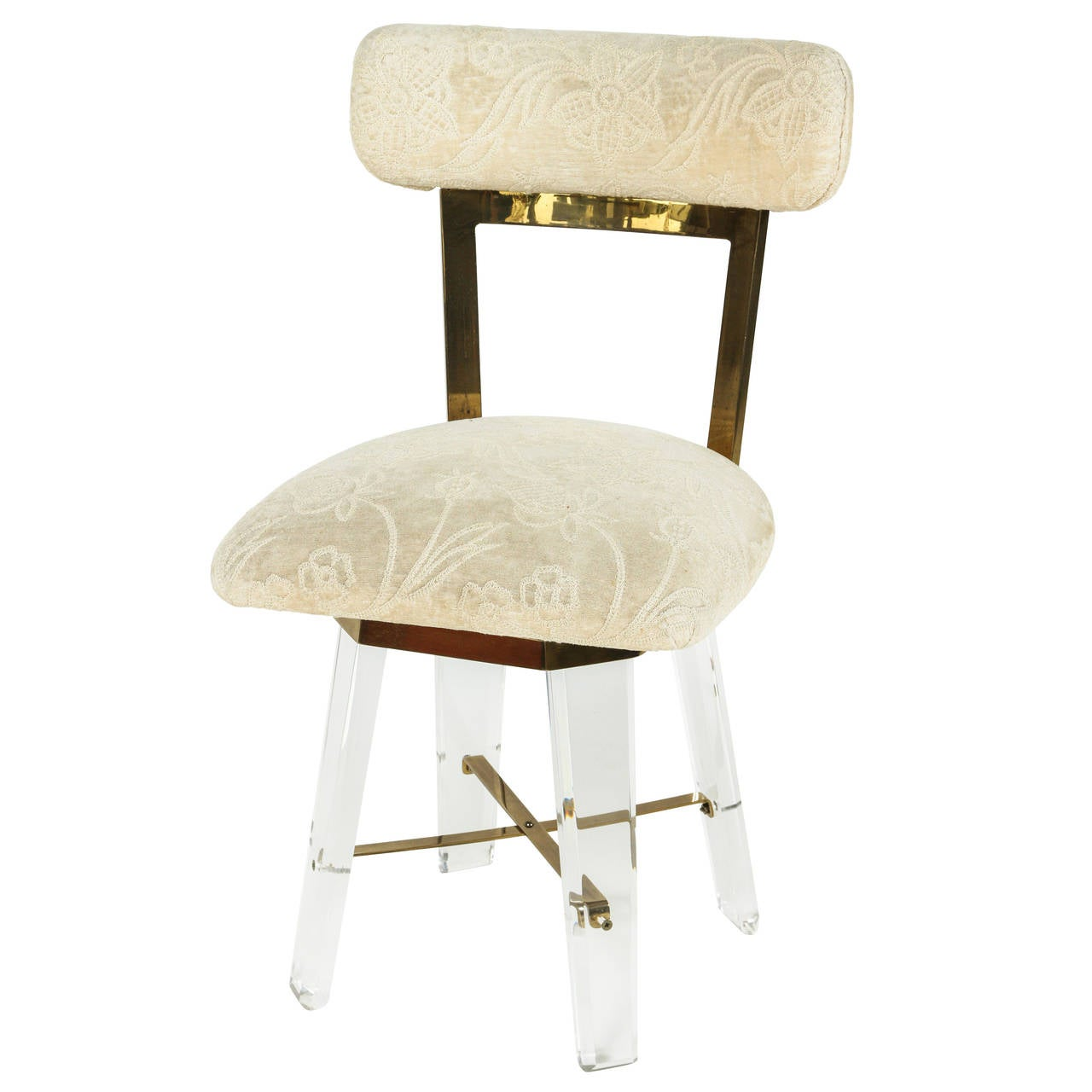 Elegant Lucite And Brass Swiveling Vanity Chair At 1stdibs