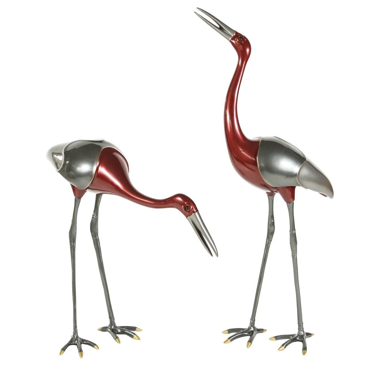 Pair of Large-Scale Decorative Crane Sculptures