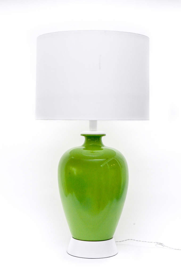 Pair of large scale green ceramic table lamps at 1stdibs