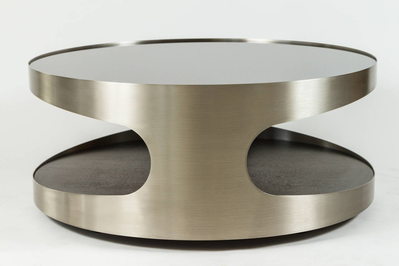 Brushed Steel Glass And Wood Cocktail Table At 1stdibs