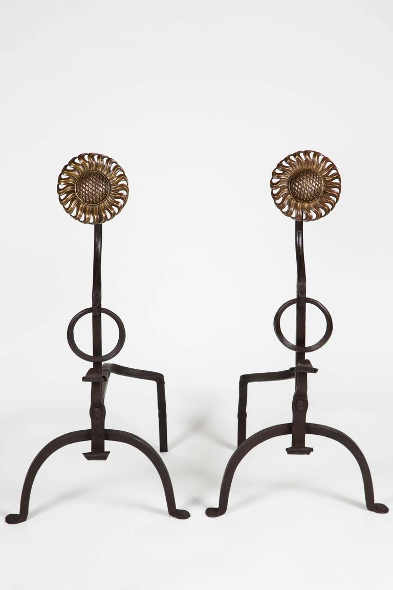 Arts and Crafts Pair of Arts & Crafts Sunflower Andirons For Sale