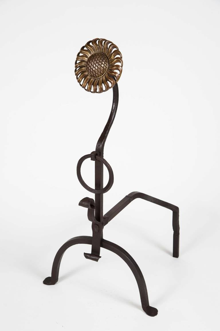 Pair of Arts & Crafts Sunflower Andirons In Excellent Condition For Sale In Los Angeles, CA