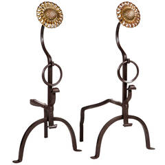 Pair of Arts & Crafts Sunflower Andirons