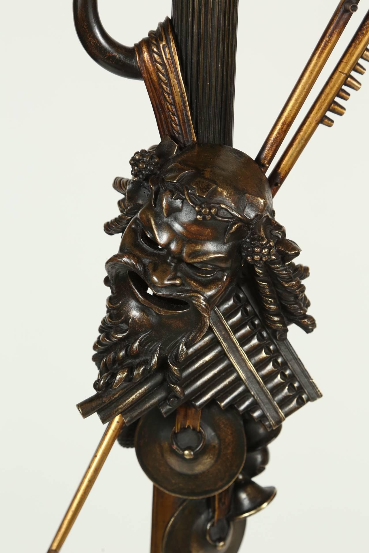 American Neoclassical Cast Bronze Bacchus Floor Lamp For Sale