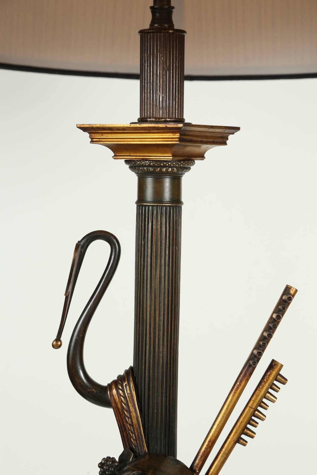 Neoclassical Cast Bronze Bacchus Floor Lamp For Sale 1