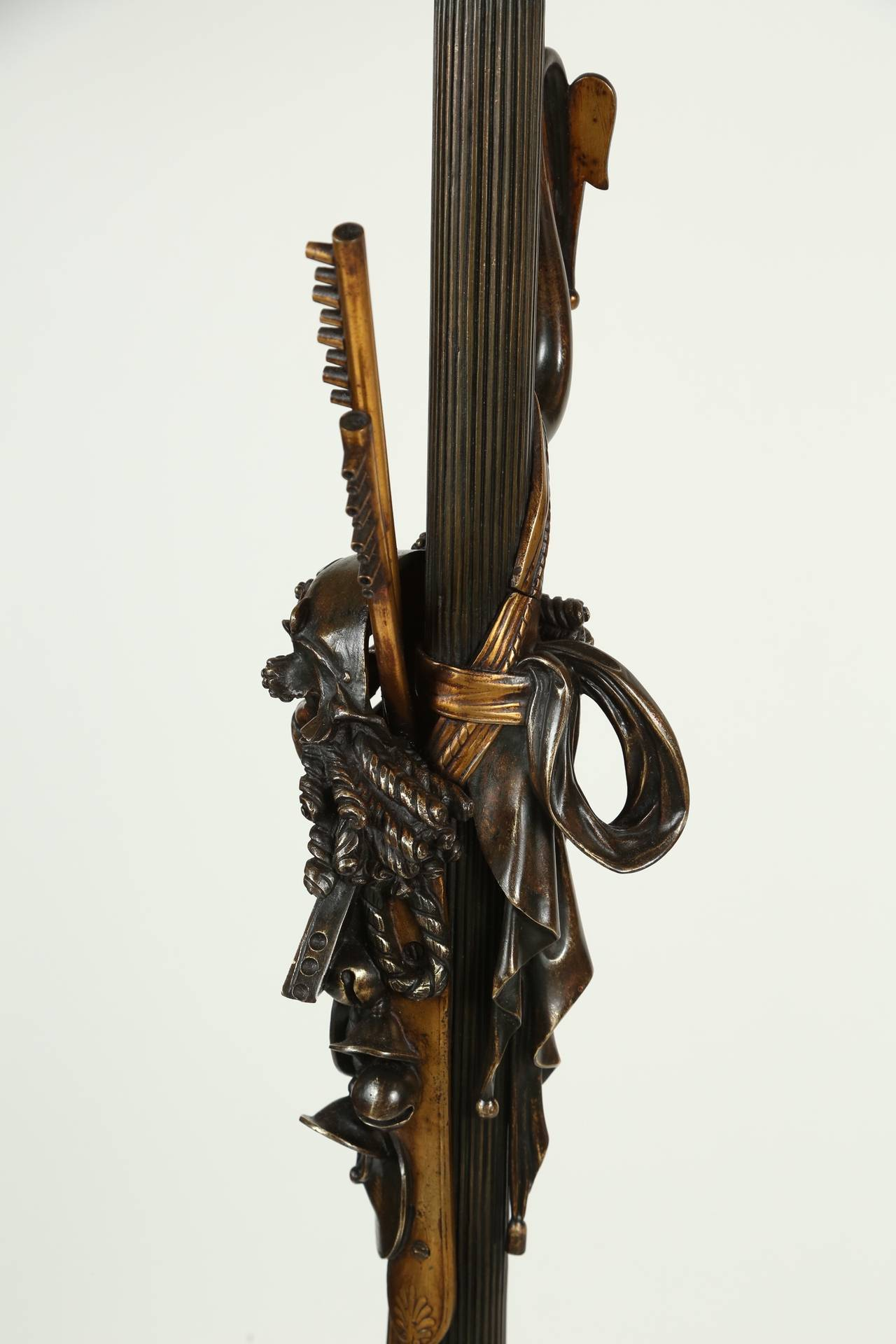 Neoclassical Cast Bronze Bacchus Floor Lamp For Sale 3